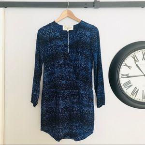 Rory Beca Blue Snake Silk Mini Dress